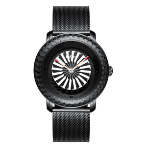 Turbine Bezel  Rotating Dial Quartz Watch-zaddy-zems
