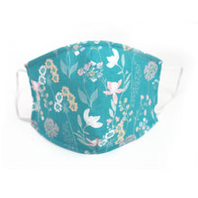 Load image into Gallery viewer, Aqua Floral Vines, 100% Cotton Face Mask, Adjustable, w/ Nose Wire & Pocket