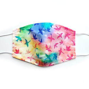 Birds on Tie Dye, 100% Cotton Face Mask, Adjustable, w/ Nose Wire & Pocket