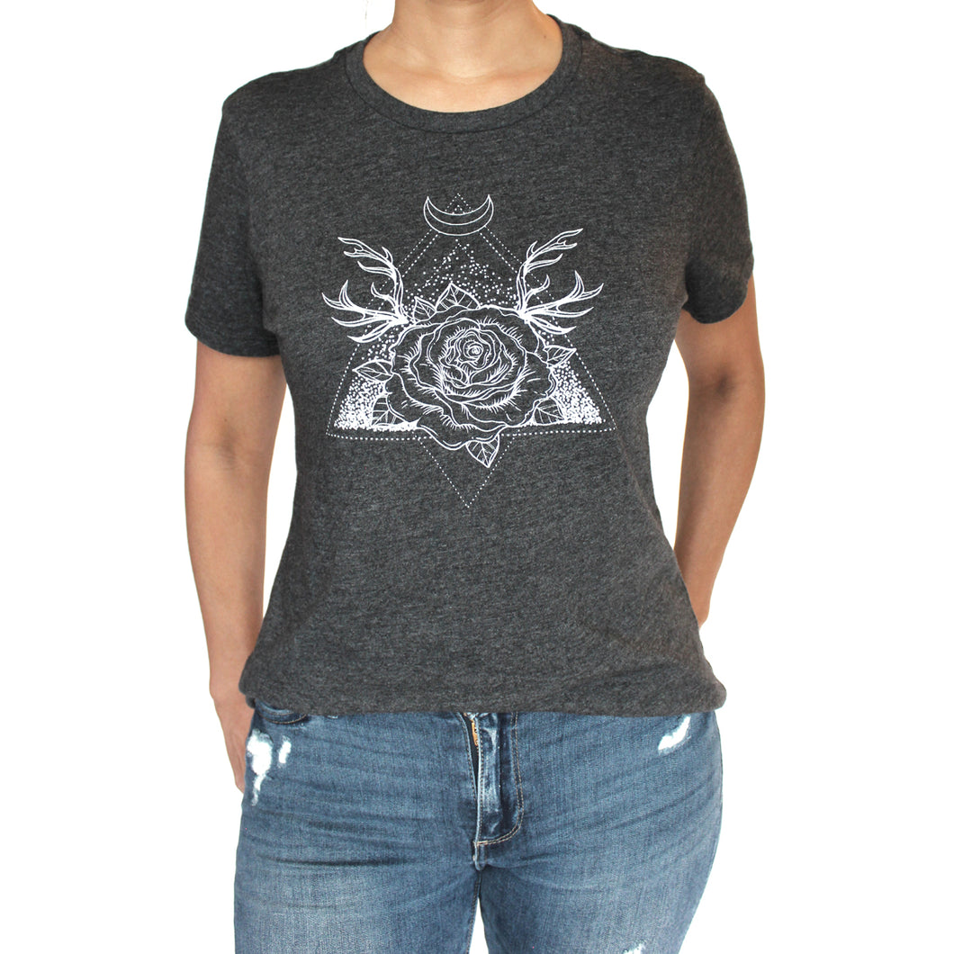 Twilight Rose Graphic T-Shirt, Dark Gray Heather