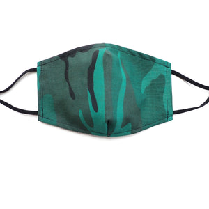 Green Camouflage, Cotton Poly Blend, Fabric Face Mask, Adjustable, w/ Nose Wire & Pocket