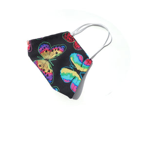 Rainbow Butterflies on black, 100% Cotton Face Mask, Adjustable, w/ Nose Wire & Pocket