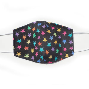 Rainbow Stars on black, 100% Cotton Face Mask, Adjustable, w/ Nose Wire & Pocket