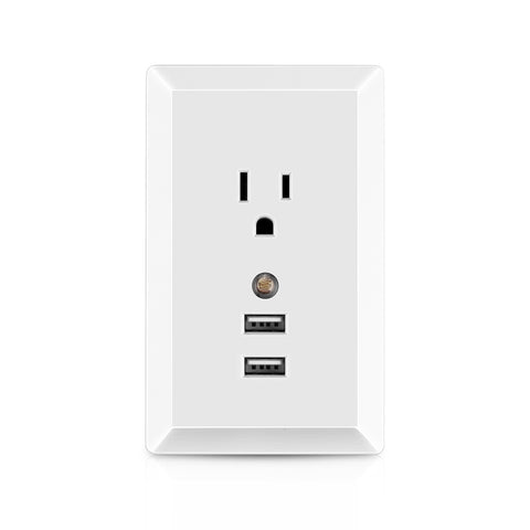 US AC Socket Wall Outlet with LED Night Light and 2 USB Ports