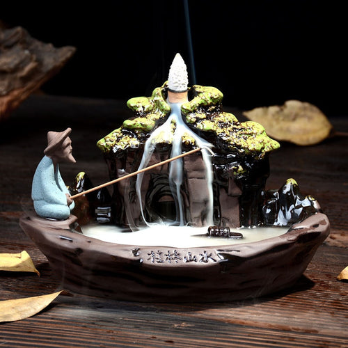 Man in the Pond Backflow Incense Holder INCLUDES 10 Pcs incense cones - trendytorch