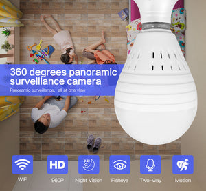 Panoramic Light Bulb Camera - Full 360 degree HD Fish Eye Lens - trendytorch