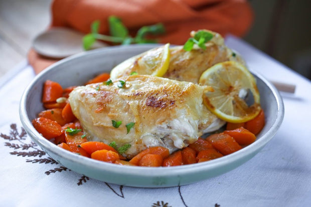 Lemon Baked Chicken & Curry Carrots