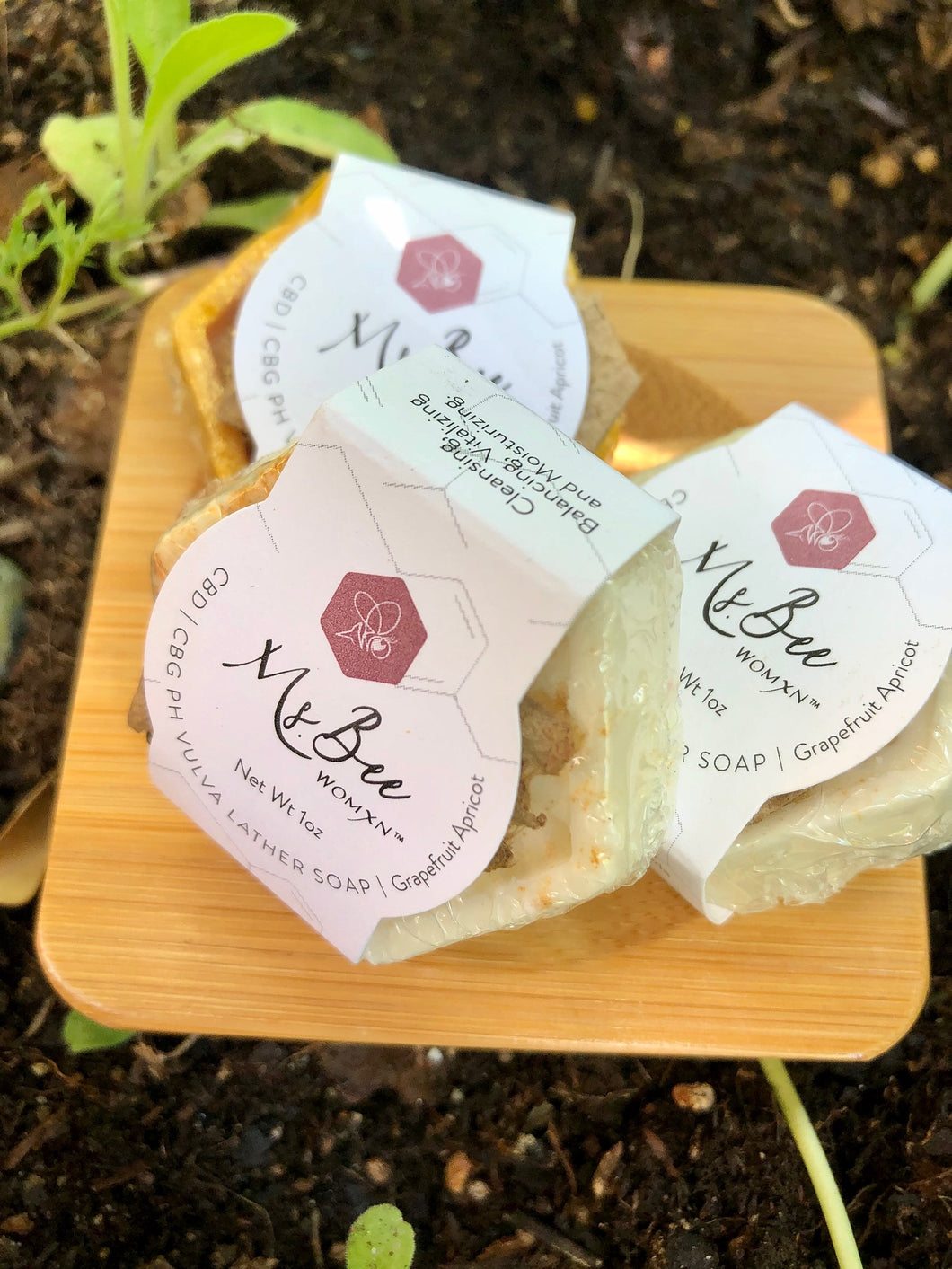 CBD | CBG PH VULVA LATHER SOAP 3 PACK + Bamboo SOAP DISH | Grapefruit Apricot