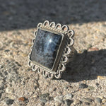 Vintage Sterling Square Agate Ring 5