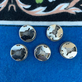 Vintage 1970s Silver Stamped Button Covers