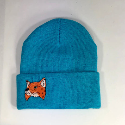 Night Eyes Leather Fox Beanie