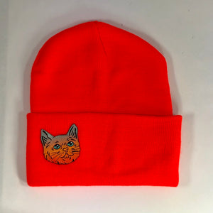 Night Eyes Leather Cat Beanie