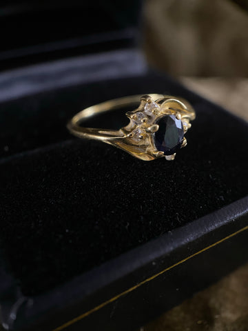 Antique 14K Sapphire and Diamond Ring 4.25