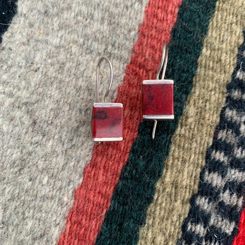 Vintage Sterling and Red Stone Earrings