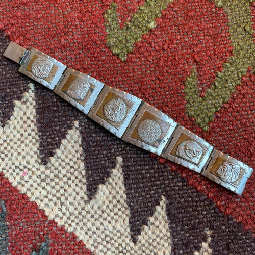 Vintage Aztec Sterling and Copper Bracelet