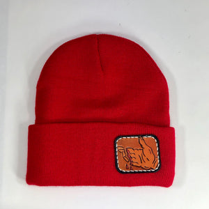 Night Eyes Leather Finger Cuts Beanie