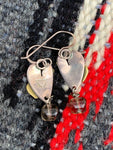 Vintage Sterling and Brass Heart Earrings