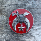 Vintage Red Enamel Shriners Belt Buckle