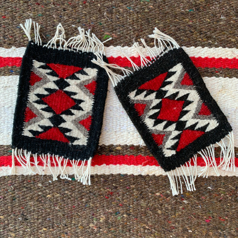 Mexican Red and Black Sarape Coaster Set