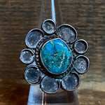 Vintage Sterling Turquoise Large Flower Ring 5.5
