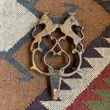 Vintage Heavy Brass Wolf/Fox Folk Trivet
