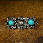 Vintage Sterling and Turquoise Flower Pin