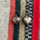 Vintage Sterling Etched Hollow Heart Earrings