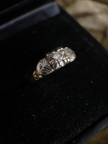 Antique 1930's 14k Diamond Ring 6.75