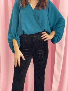 Wrap Top with Balloon Sleeves