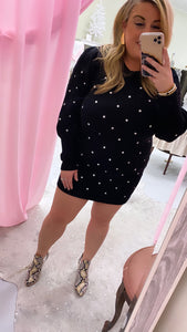 Polka Dot Sweater Dress Body Con