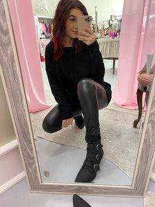 Leather Leggings with Fleece Lining