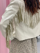 Load image into Gallery viewer, Francesca White Leather Fringe Jacket