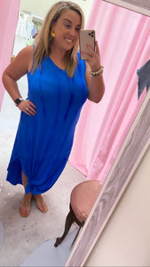 Sea Blue Tie Dye Maxi Dress