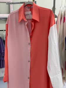Peach Color Block Buttondown Maxi Dress