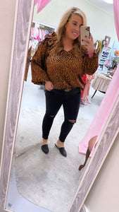 Leopard Silk Ruffled Long Sleeve Top