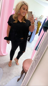 Peplum Black Vneck Top