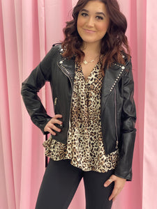 Black Vegan Leather Jacket with Stud Details