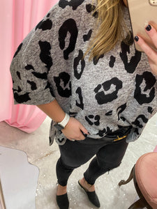 Grey Knitted Leopard Top