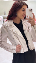 Load image into Gallery viewer, Bianca White Denim Stud Jacket
