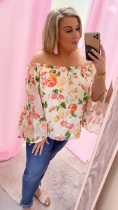 Peachy Floral Off the Shoulder Top