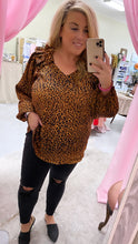 Load image into Gallery viewer, Leopard Silk Ruffled Long Sleeve Top