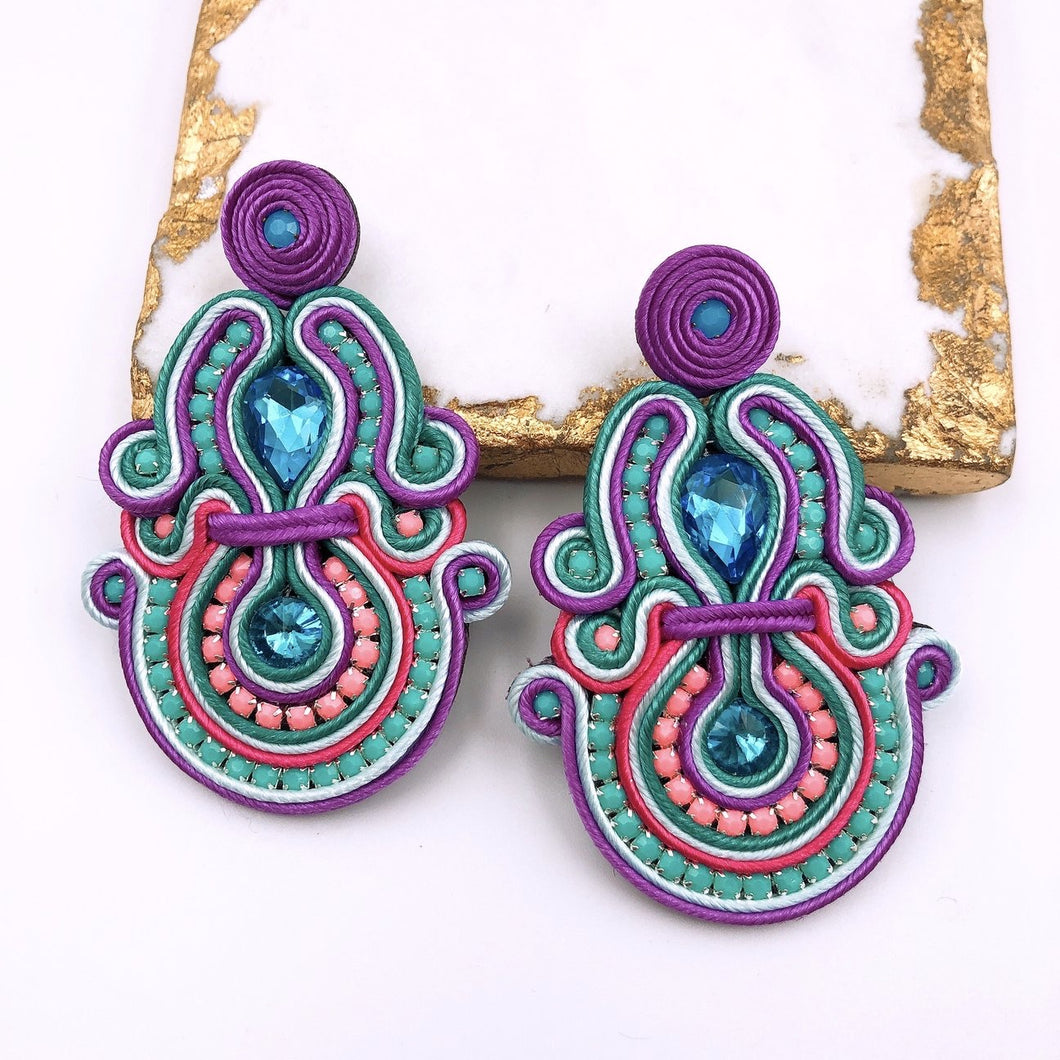 Jane Multi Purple Earrings