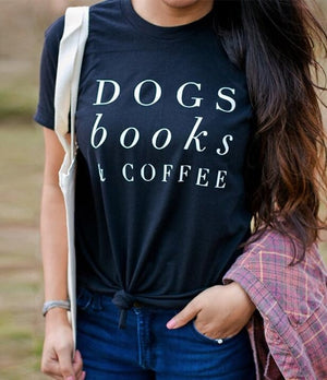 Open image in slideshow, Dogs Books & Coffee T-Shirt