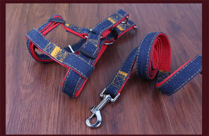 Open image in slideshow, Denim Leash and Harness