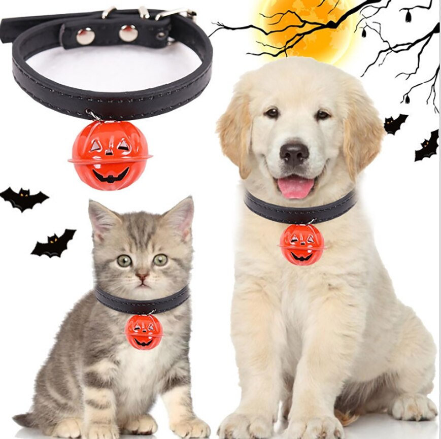 Halloween Pumpkin Pet Bell Collar Pet Dog Cat Necklace