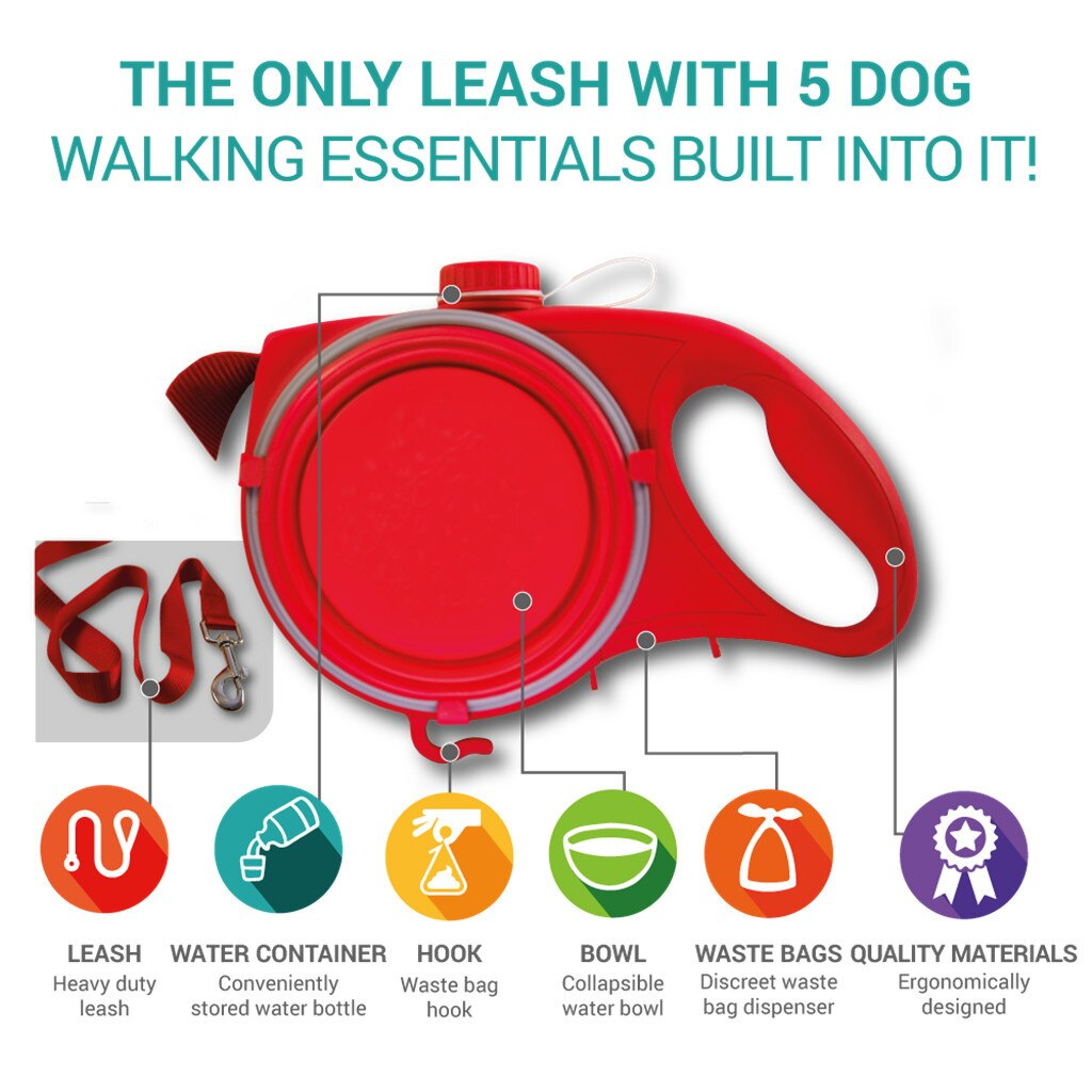 Multi Function Dog Leash With Water Bottle, Bowl & Waste Bag Dispenser