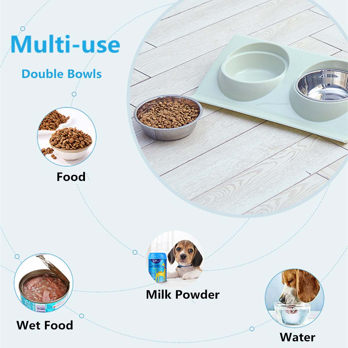 Pet Food and Drink Double Bowl