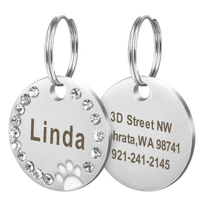 Open image in slideshow, Custom Engraved Stainless Steel Pet ID Tag