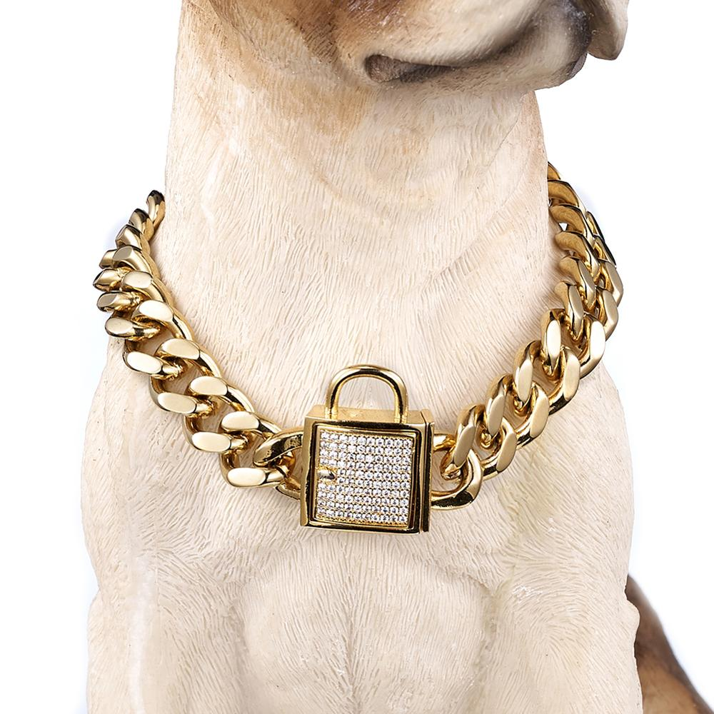 Padlock Cuban Links Dog Chain