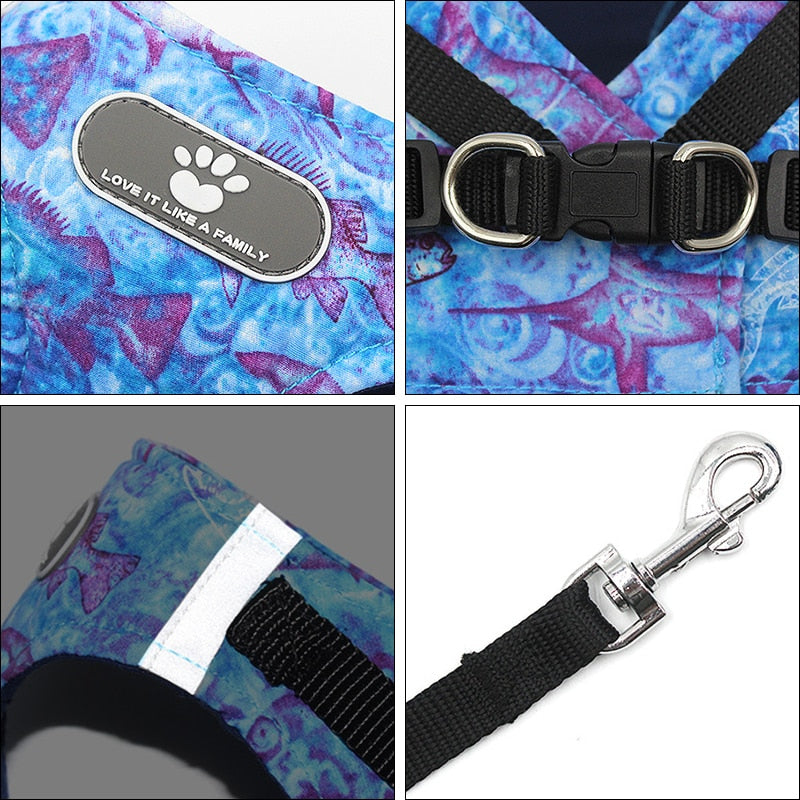 Reflective Dog Harness and Leash Set